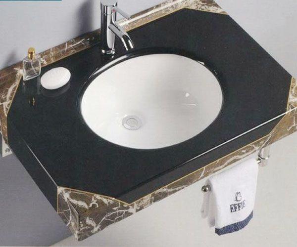 Bàn đá lavabo màu đen cho chậu rửa âm – mã số 13